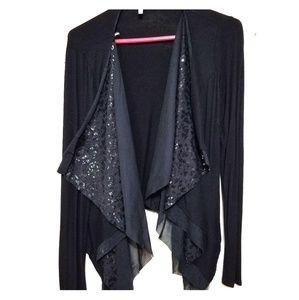 Open black cardigan